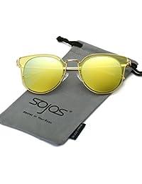 SOJOS Lunettes de Soleil Oversize Aviateur Carré Goggle pour Homme SJ1080 avec Noir Cadre/Clair Lentille mV3bc