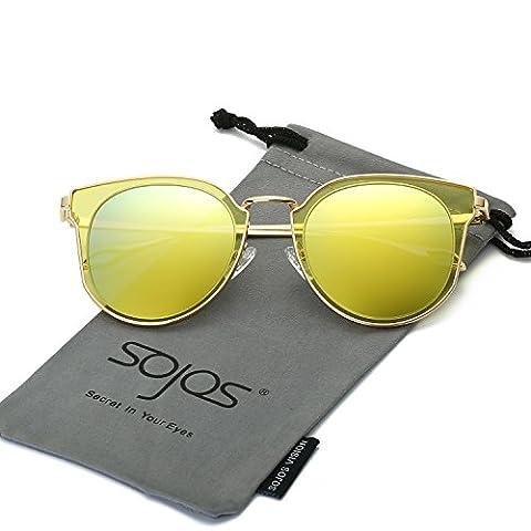 SojoS Lunettes de Soleil Unisexe Rond Vintage Double Verres Polarisés Miroités UV Protection SJ1057