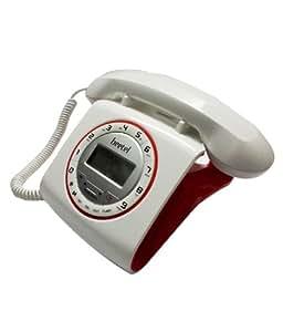 BEETEL M73 - STYLISH RETRO DESIGN LANDLINE PHONE (White & Red) with 1 Year Mfg. Warranty