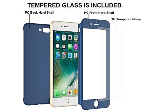 Custodia iPhone 7 Full Body Ultra Sottile Morbido TPU Protettiva Cover Case + Vetro Temperato Proteggi Schermo 3 in 1 Design Front & Indietro Caso&Vetro Film Lusso Protezione Completa (Rosso) Blu