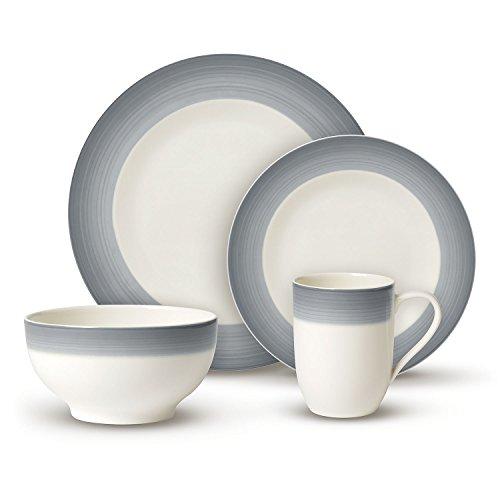 Villeroy & Boch Colourful Life Cosy Grey Ensemble de vaisselle, Set de 8 pièces, Porcelaine Premium, Blanc/Gris