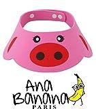 Visera protección segura para Champú, Ducha Baño, Gorro para Niños, Bebé, protege ojos (Cerdito Rosa)