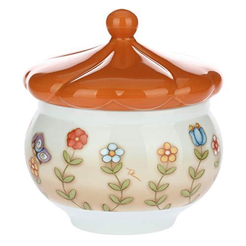 Thun - biscottiera - porcellana - country - con coperchio a forma di primula - 18 x 13 cm h