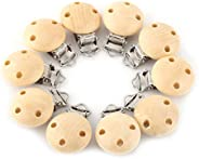 Pacifier Clip, 10Pcs Wood Charm Pacifier Holder Nipple Clasps, Clothing Accessories Folder Natural Pacifier Cl
