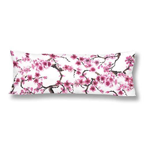 CiCiDi Seitenschläferkissen 5ft (140 x 40 cm) Aquarell Spring Flower Sakura Rosa Kirschblüte Weiche Baumwolle Maschinenwäsche mit Reißverschlüssen Mutterschafts- / Lange Kissenbezug