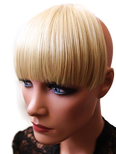 Haarteil Pony-Extension mit Clip, synthetisch, natürlicher Look, hitzebeständig, Bleach Blonde Mix