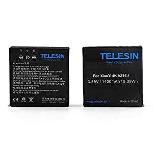 TELESIN 2 stücke 1400 mAh Backup Wiederaufladbare Li-auf Batterie Mit USB Dual Ladegerät Für Xiaomi Yi 4 Karat Sport Action Kamera 2
