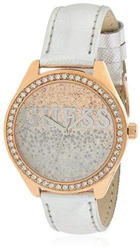 Guess Unisex Erwachsene Datum klassisch Quarz Uhr mit Leder Armband W0823L7 (Guess Für Frauen, Uhren Silberne)