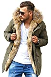 Rello & Reese Winter Parka mit Fell-Imitat Jacke Mantel E-7109N [Khaki, XL]