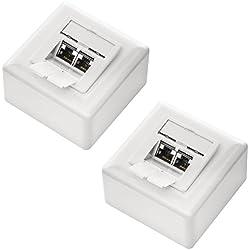 deleyCON SET 2x CAT 6a Universal Netzwerkdose - 2x RJ45 Port - geschirmt - Aufputz/Unterputz - 10 Gigabit Ethernet Netzwerk - EIA/TIA 568A&B - Weiß/Uniweiß