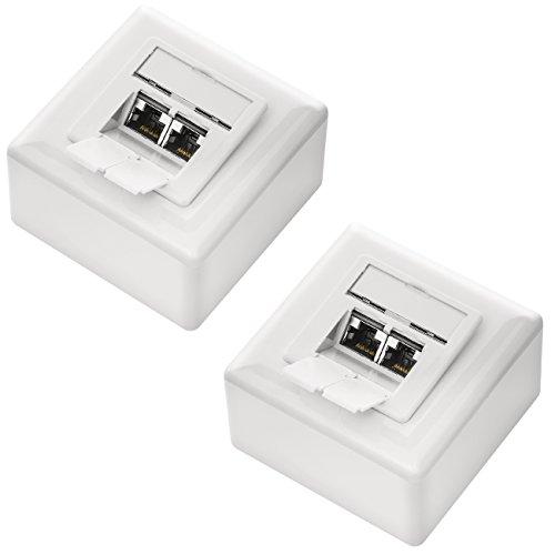 deleyCON 2X CAT 6 Universal Netzwerkdose als Set - 2X RJ45 Port - Geschirmt - Aufputz oder Unterputz - 1 Gigabit Ethernet Netzwerk - EIA/TIA 568B - Weiß