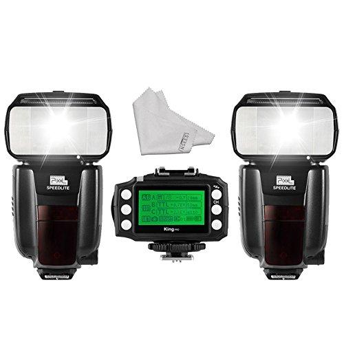 2PCS Pixel M8 GN60 Wireless Eingebautes Trigger System Flash Speedlite + King PRO Wireless TTL Blitzauslöser für Nikon DSLR Kameras