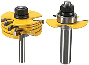 Rishil World 2pcs 1/2 and 1/4 inch Shank Adjustable Rabbet Router Bit Set for Woodworking