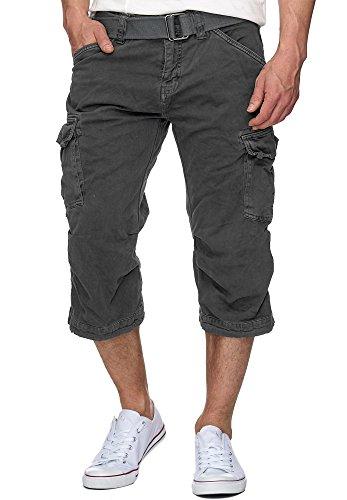 Indicode Herren Nicolas Check 3/4 Karierte Cargo Shorts inkl. Gürtel aus nachhaltiger Baumwolle Raven XXL