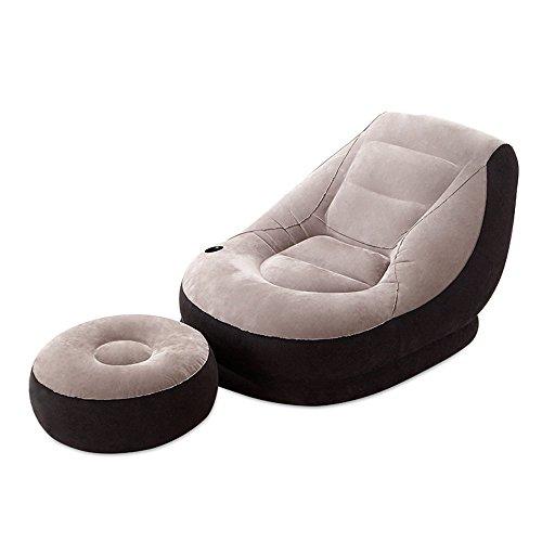 Chaise gonflable de luxe de chaise longue du salon 1 avec la chaise de repos de tabouret de siège ( Couleur : Gris )