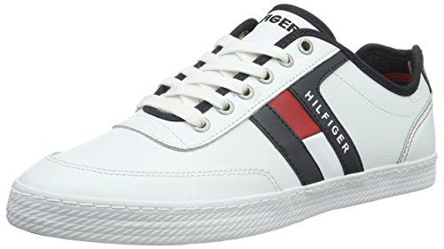 Tommy Hilfiger Sneaker in pelle, Uomo, Bianco (910/R/W/B), 42 2/3