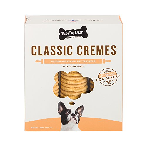 Three Dog Bakery 13-Ounce Classic Cremes Golden with Peanut Butter Filling Baked Dog Treats by Three Dog Bakery