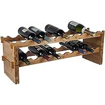 RTA bambú botellero Modular. Comprar un estante de vino completo o un kit de extensión. De 9botellas–56 botellas construir estante de vinos según lo necesite, bambú, 2 niveles