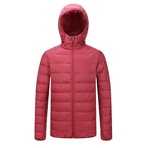 Leichte Mock Rollkragenpullover (UJUNAOR Daunenjacke Herren Schlank Herbst Mantel Sport Jacke Reißverschluss Mit Kapuze(Rot,CN M))