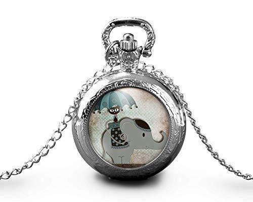 Collar de reloj de bolsillo - cabochon -'paseo en elefante'- Regalo de Navidad para regalo mujer - San Valentín- regalo de cumpleaños plata (ref.25a)