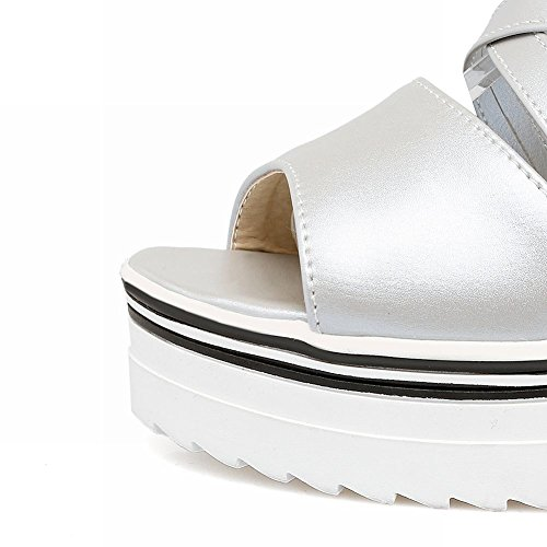 Mee Shoes Damen open toe invisibel heel Reißverschluss Sandalen Silber(PU)
