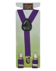 Tiekart kids purple plain solids suspenders