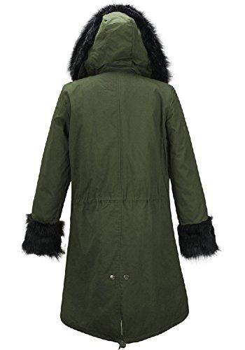 Blansdi 2016 Hiver Femme Chaud Epaise Fourrure Capuche Longue Fleece Parkas Militaire Manteau Veste Blouson Longue