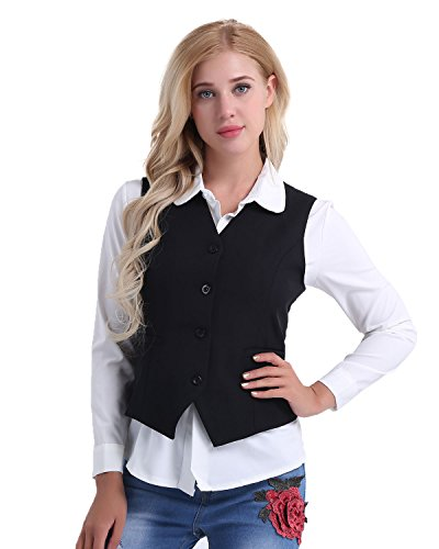 Tiaobug Damen Weste Anzugweste in rot, schwarz passt perfekt zu weißem Hemd ärmellose taillenlange Jacke Basic Klassisch Modisch Business Westen Business Outfits Oberteil S-XXL Schwarz M