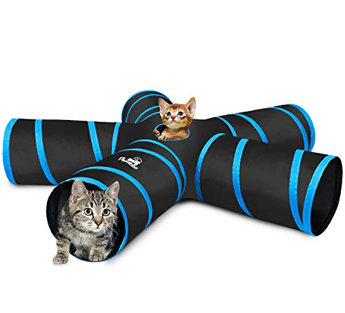 Pawaboo Cat Tunnel, Premium 5 Way Tunnels Extensible Collapsible Cat Play Tunnel Toy Maze Interactive Tube Toy Cat House with Pompon and Bells for Cat Puppy Kitten Rabbit, Black & Light Blue -
