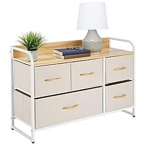 mDesign Kommode mit 5 Schubladen - breiter Schubladenschrank für Schlafzimmer, Wohnzimmer oder Flur - Kleiderkommode aus Metall, MDF und Stoff - cremefarben und weiß