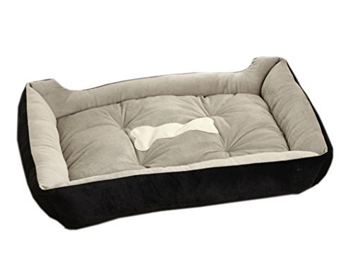 La vogue nero ossa di cane letto cuccia con cuscino per cani gatti