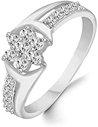 Classic Center Star Diamond Studded Rhodium Plated Alloy Cz American Diamond Finger Ring For Women & Girls [CJFR1263R]