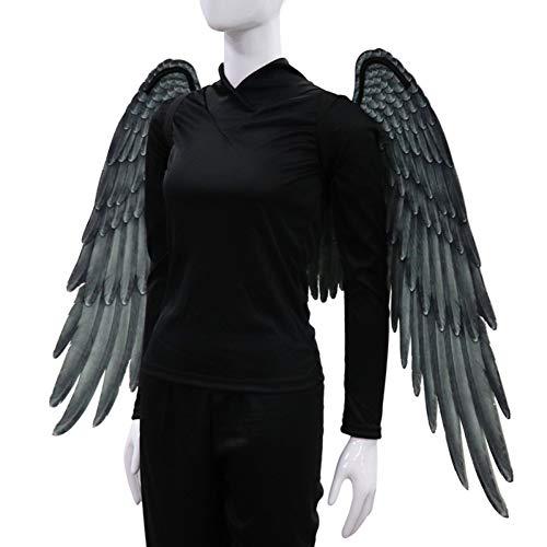 Große Schwarze Der Engel Kostüm Flügel - 3D Schwarz Engelsflügel Weiße Fee Flügel Kostüm Halloween Party Karneval Cosplay Flügel Für Erwachsene Männer Frauen Kinder Kinder, Halloween Dekoration Requisiten (2 Größe Verfügbar)