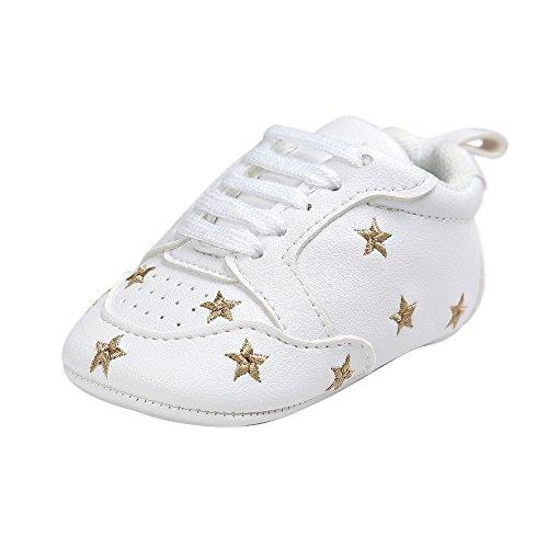 Estamico,Chaussures bébé garçon premier pas,Baskets blanches à lacets unisex bébé Etoiles d'or