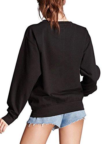 Femmes Blouse à Manches Longues Lettre overs Print Sweatshirt Noir