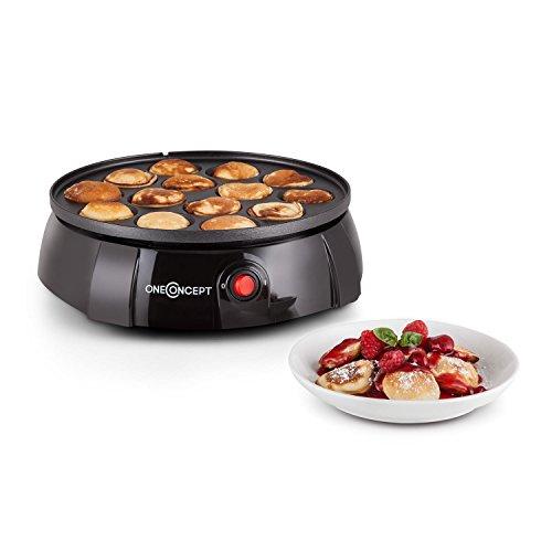 oneConcept Pancake Queen Pfannkuchenautomat Poffertjes Pfanne (650 Watt, 14 Gebäckmulden, Antihaftbeschichtung, Kabelaufwicklung) schwarz