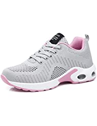 Sportschuhe Damen Turnschuhe Sneaker Freizeit Air Rutschfeste Laufschuhe DäMpfung Leichte Atmungsaktive Schuhe Schwarz Blau Rot Gr.35-42