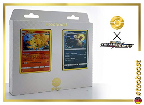 Vulnona (Feunard) 16/181 & Pandagro (Pandarbare) 94/181 - Tooboost X Sonne & Mond 9 Teams Sind Trumpf - Juego de 10 Cartas Pokémon alemanas + 1 Goodie Pokémon
