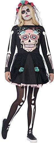 Smiffys, Teenager Mädchen Zuckerschädel Kostüm, Kleid und Kopfbedeckung, Größe: XS, 44341