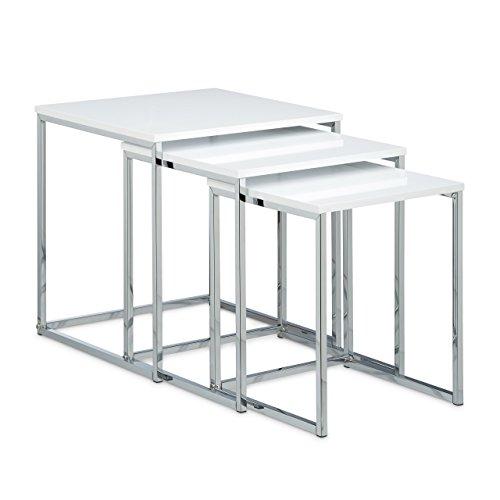 3-teiliges Set Nachttisch (Relaxdays Beistelltische 3er Set H x B x T: ca. 42 x 40 x 40 cm Couchtisch aus Holz und Metall als Sofatisch und Kaffeetisch platzsparender moderner Satztisch auch als Nachttisch und Teetisch, weiß)