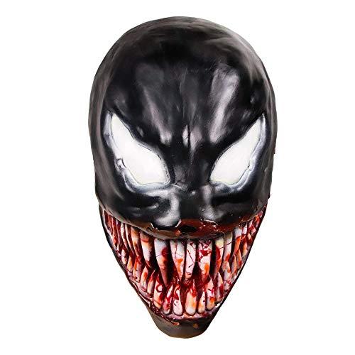 BLOIBFS Venom Cosplay Maske Venom Latex Kopfbedeckungen Lange Zungenmaske Schwarz Spider Man Cosplay Halloween Weihnachten Film Kostüm Requisiten,Adult2