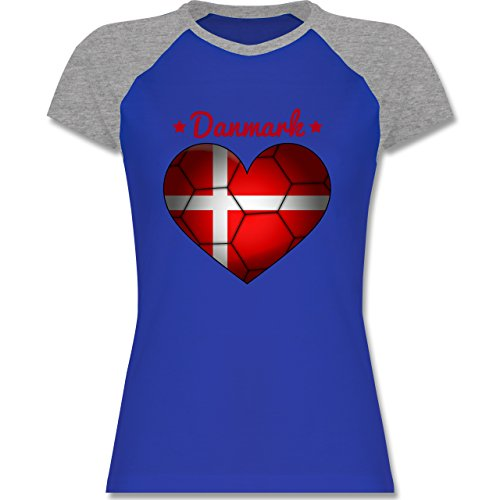 Handball - Handballherz Dänemark - zweifarbiges Baseballshirt / Raglan T-Shirt für Damen Royalblau/Grau meliert
