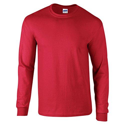 Gildan Ultra Oberteil, Langarm, Baumwolle Gr. Small, rot (Herren Rot T-shirt Blank)