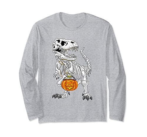 T-Rex Skelett Halloween Kostüm grusel Kürbis Dino Halloween Langarmshirt