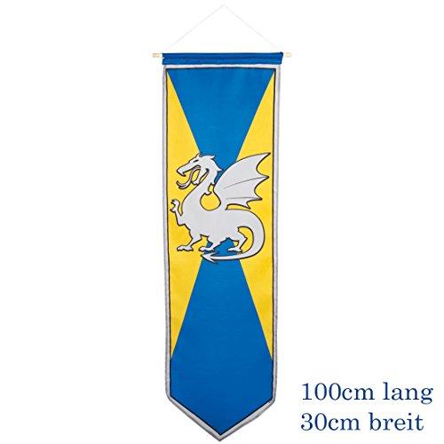 Blasón Medieval - Amarillo-Azul | Estandarte con Dragón | Decoración Fiesta Caballeros | Bandera con Blasón