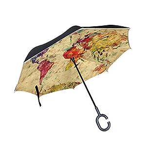 mydaily doble capa paraguas invertido coches Reverse paraguas colorido mapa del mundo Vintage resistente al viento UV prueba de viaje al aire libre Paraguas