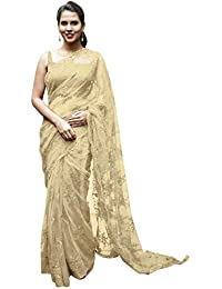 Swara Fashion Women's Nylon Net Multi Work Saree(SFA-3231-D_Yellow)