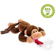 Chupete con mono BabyHuggle - Chupeta con peluche para bebé, Juguete de felpa suave con chupón separable de silicona, Chupador con correa, cierre & Sonido. Porta-mordedor