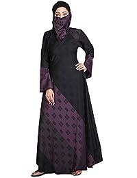 Hawai Women's Lycra Dual Colors Stretchable Abaya Burqa (WB00364_1, Black, Free Size)