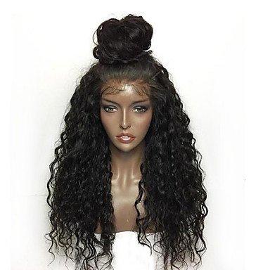 RY @ Kinky Curly Lace Front Perücken Synthetik für schwarz Frauen Fashion Tägliche Tief lockig hitzebeständig Perücke Baby Haarspange (Stile Lace Front)